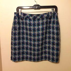 Loft plaid tweed knee length skirt 6 petite.